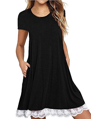 Women's Short Sleeve Pockets Loose T-Shirt Dress Casual Swing Lace Summer Dress Black,M