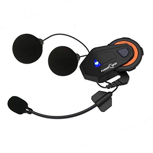 Motorcycle Helmet Intercom Communication Systems Bluetooth 4.1 Headsets, Full Duplex 6 Riders Group Helmet Intercom, Range 1000m, IPX65 Waterproof, Voice Prompt, Stereo Music, FM Radio, GPS (1 Pack)