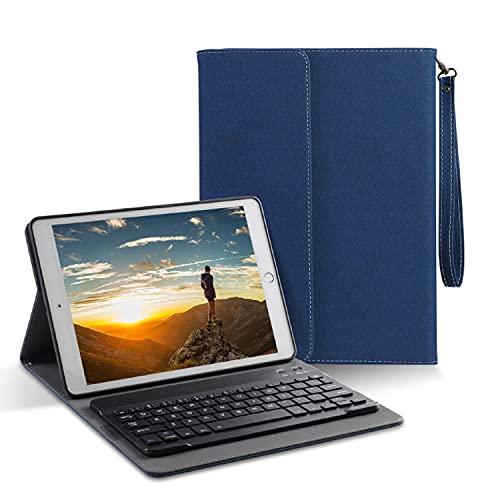LGQ Funda con Teclado para iPad Mini 1/2/3-funda con Soporte Tipo Folio De Cuero Anticaída, Teclado Inalámbrico Bluetooth con Cordón, Adecuado para Apple iPad Mini 1 / iPad Mini 2 / iPad Mini 3,Azul