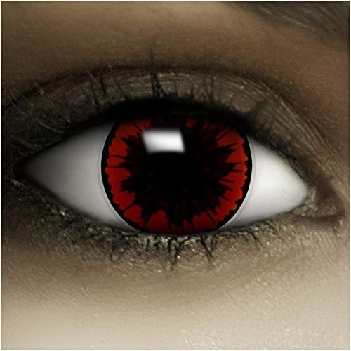 Farbige Kontaktlinsen ohne Stärke Parasit + Kunstblut Kapseln + Kontaktlinsenbehälter, weich ohne Sehstaerke in rot, 1 Paar Linsen (2 Stück)