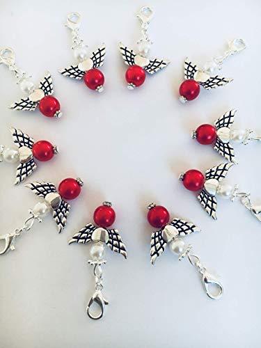 10 Perlenengel mit Karabinerhaken, handmade, Schutzengel, Anhänger, Weihnachtsgeschenk, rot