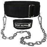 Next Alpha Combinazione Cintura Powerlifting & Cintura per dips - Cintura per Sollevamento Pesi Personalizzata - per Uomo e Donna - Fibbia autobloccante e sgancio rapido - con Catena - Nero - Large