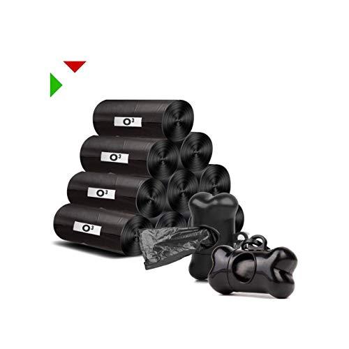 Sacchetti Cani Biodegradabili [ 600 unità + 2 Dispenser ] Sacchetti Igienici per Cane   A Prova di perditi   Colore Nero