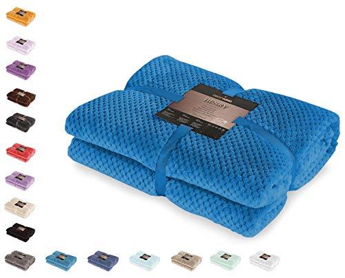 DecoKing Kuscheldecke 150x200 cm Indigoblau Decke Microfaser Wohndecke Tagesdecke Fleece weich sanft kuschelig skandinavischer Stil dunkelblau Henry