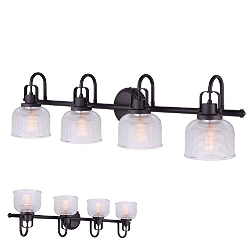 Oil Rubbed Bronze 4 Bulb Vanity Light Bath Wall Fixture Clear Double Prismatic Glass Globes