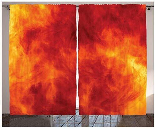 MEKVF Wärmedämmvorhang Flammende Flammen Ösen Bedruckte Vorhänge Bleistiftfalte Polyester Mikrofaser Kinderküche Wohnzimmer Schlafzimmer,2 Panel 220x215cm(Wxl)