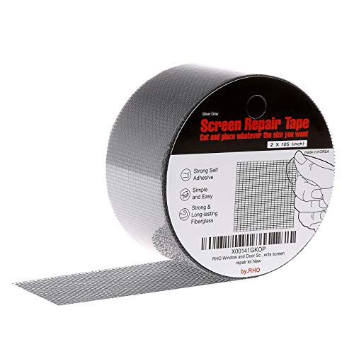 by.RHO 2'x105' Screen Repair Kit. 3-Layer Strong Adhesive & Waterproof Ideal for Covering up Holes and Tears Instantly. Screen Repair Tape for Window and Door Screen. Fiberglass Cloth Mesh.