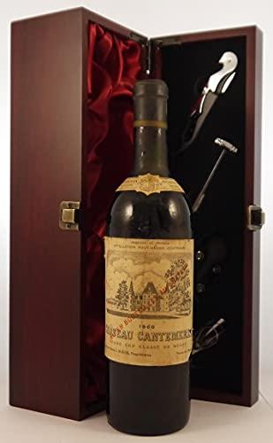 Chateau Cantemerle 1968 Grand Cru Classe Macau-Ludon en una caja de regalo forrada de seda con cuatro accesorios de vino, 1 x 750ml
