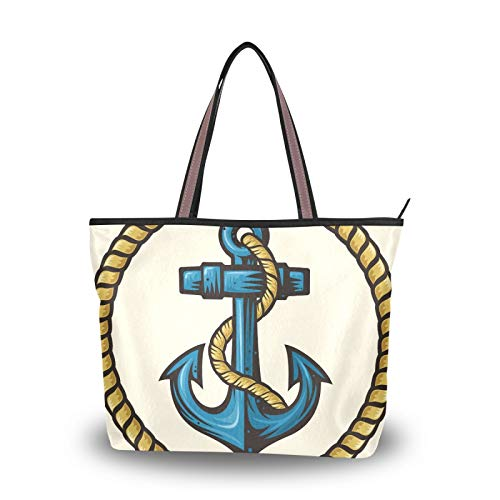 Anchor Rope Design Light Weight Strap Purse Shopping Shoulder Bags Handbags for Women Girls Ladies Student Tote Bag