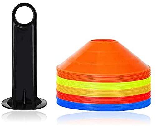 MRZJ 50 conos marcadores, para entrenamiento multideporte, para fútbol, hockey, balonmano, atletismo para coordinación y agilidad.
