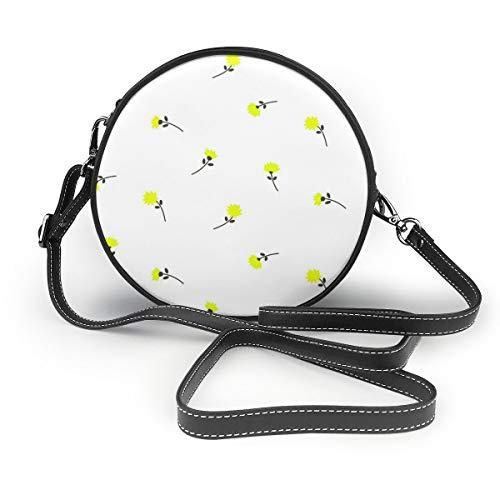 Wrution Damen Handtasche mit Pusteblumen und Blumen, nahtlos, Vektorbild, personalisierbar, rund, mit Reißverschluss, weiches Leder