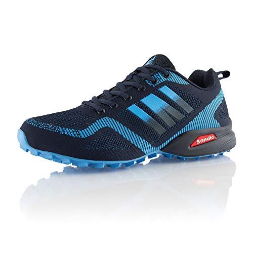 Fusskleidung® Damen Herren Laufschuhe atmungsaktive Runners leichte Trekkingschuhe Blau EU 42
