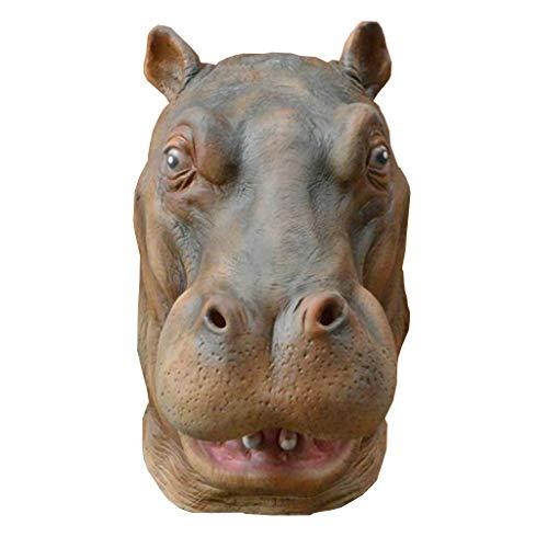 JGBHPNYX Maschera di Ippopotamo Testa di Animale Maschera di Carnevale Festa di Compleanno Mascherata in Lattice Parrucca