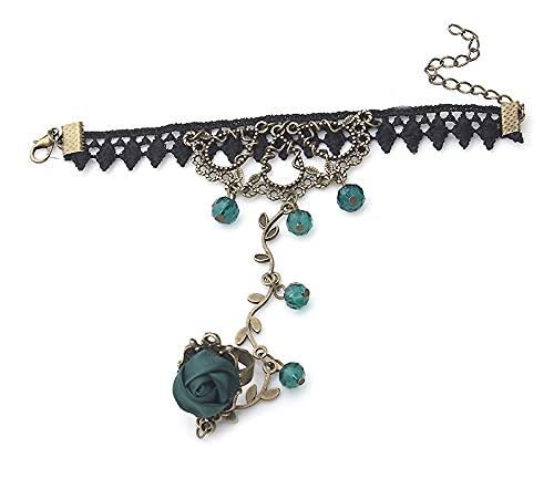 1 pulsera gótica retro para mujer, con encaje, flor de mano esclavo, cadena de temperamento, regalo (metal color: verde).