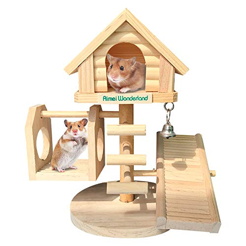 Dwarf Hamster House Durable Odorless Deluxe Two Layers Wooden Hut for Hamster Toys Syrian Hamster House Natural Living Wooden Castle, DIY Small Animal Playground