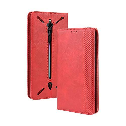 MIFanX ZTE Nubia Red Magic 3 Hülle,PU Lederetui Mit Eingebettetem Magnetverschluss Retro Flip Geldbörse mit [Kartensteckplätzen] für ZTE Nubia Red Magic 3(Rot)