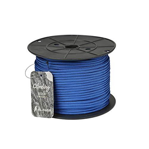 QDTD Cuerda Cuerda De Seguridad Azul 100m, Cuerda De Escalada De 4mm, Cuerda De Rappel De Aventura Al Aire Libre, Equipo De Salvamento, Cuerda De Nailon Ignífuga