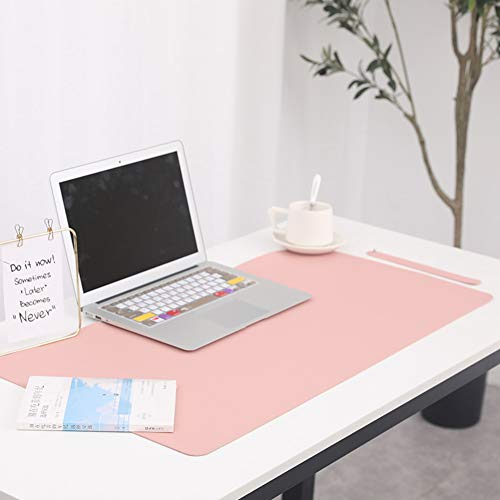VIVOCFan Multifunktionales Büro Multifunktionale Schreibtischunterlage,pu Leder Nicht-Slip Tastatur Schreiben Schreibtischunterlage,Gaming Ultra-dünn Mauspad,Laptop Mousepad Pink 60x120cm(24x47inch)