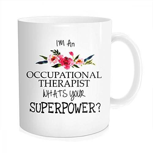 Hasdon-Hill Funny Coffee Mug for Women Men I'm an Occupational Therapist What's Your Superpower Coffee Tea Cups, Cute OT Therapy Mugs Unique Gift for Birthday Graduation 11 oz Bone China White