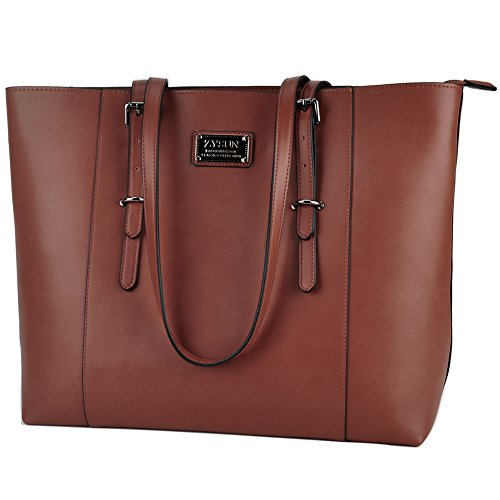 ZYSUN Laptop Tote Bag,15.6 IN Multi-function PU Leather Modern Laptop Shoulder Bag with Durable Straps for Women Valentine's Day Gift