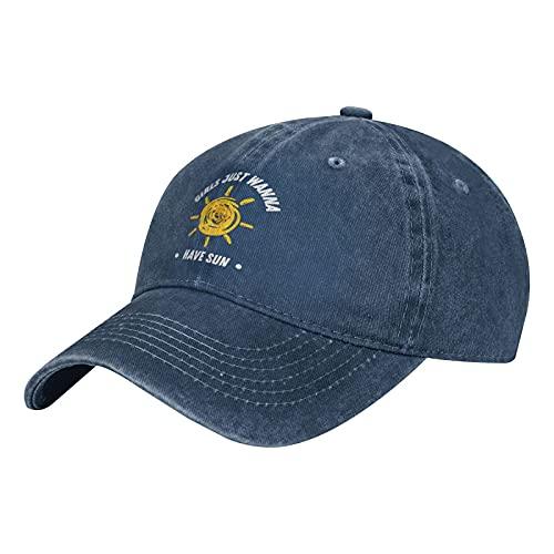Gymini Gorra de béisbol ajustable para niñas Just Wanna Have Sun-2, para todas las estaciones, color azul marino