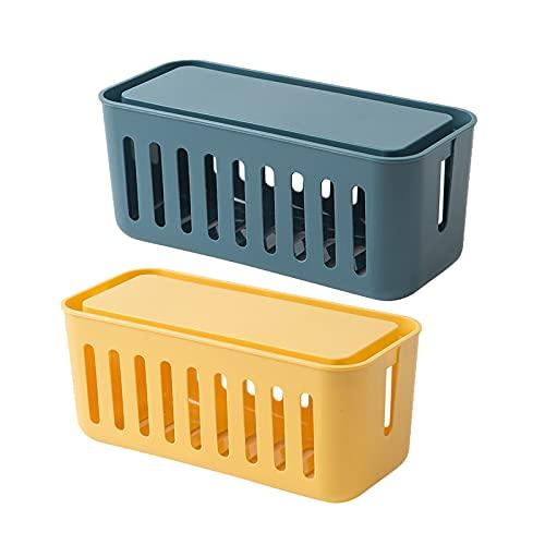 Oukerde Kabelmanagement Kabelbox Klein,Kabelkasten,Mehrfachstecker-Organisator,Handy Ladebox,Kabel Organizer Box,Kabelmanagement-Box Mit BelüFtung,Kabel Aufbewahrungsbox,Zum Verstecken Bei Kabelsalat