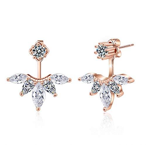 megko 925 Sterling Silver Cubic Zirconia Earrings Leaf Feather Ear Jacket Front Back Ear Cuffs Stud Earring (rose gold)