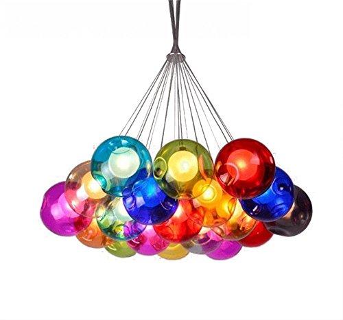 Kronleuchter Pendel Leuchter Hängeleuchte Pendelleuchte Farbige Bubble Ball Lampe Glas Esszimmerlampe Für Mehrflammige Leuchten Buntglas Esszimmer Licht Höhenverstellbare 100CM (Color : 19 Head)