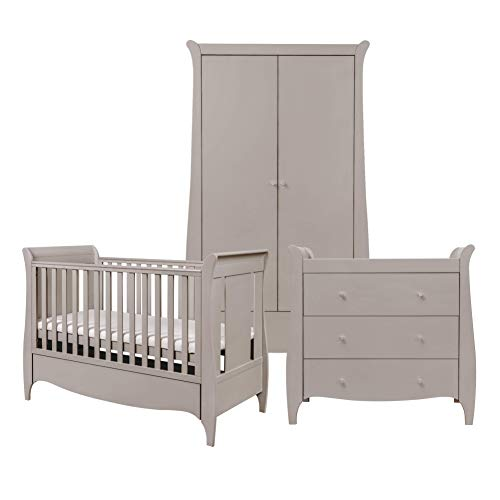 Tutti Bambini Roma Nursery Furniture Set | Baby Cot Bed, Sleigh Design Chest of Drawers and Wardrobe | Solid Wood Furniture (Truffle Grey) Three Piece
