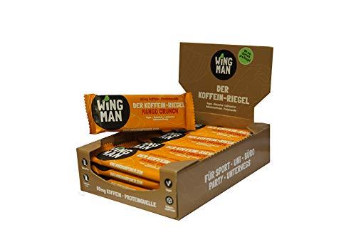 WINGMAN Koffein - Riegel (Mango Crunch-Geschmack, 16 Riegel)   Vegan & Proteinquelle   Energieriegel mit Koffein