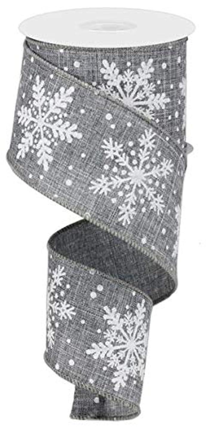 Glittered Snowflake Wired Edge Ribbon - 10 Yards (Grey, White, 2.5
