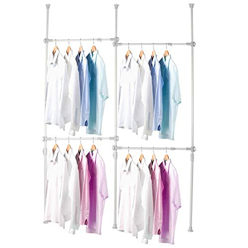 Heavy Duty Clothes Rack 4 Bars Telescopic Coat Hanger Wardrobe Organiser Cloth Rail Garment Rack Hanger Movable Hanging Rail 245cm - 310cm Adjustable Height for Dressing Room or Bedroom