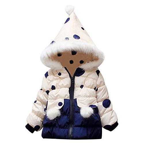 catmoew Mädchen Kleidung (6M-24M) Kind Lange Ärmel Dot Drucken Daunenjacke Winter Haarball Liner Mit Kapuze Warm halten Baumwollkleidung Kinder Kleider Winddichte Jacke