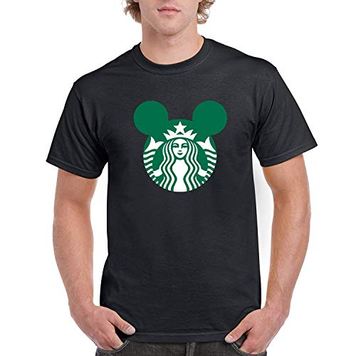 AAAFOUR Men's/Herren Starbucks Mouse Cotton Neck T-Shirt