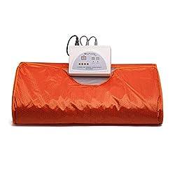 ETE ETMATE Sauna Blanket 2 Zone Controller Digital Heat Sauna Slimming Blanket Body Shaper Weight Loss Professional Detox Therapy Anti Ageing Beauty Machine (Orange)