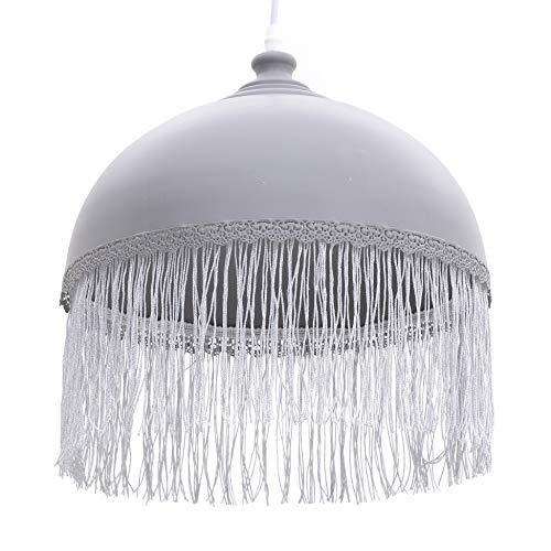 Inart Lámpara de techo metálica con flecos, gris, 33 x 33