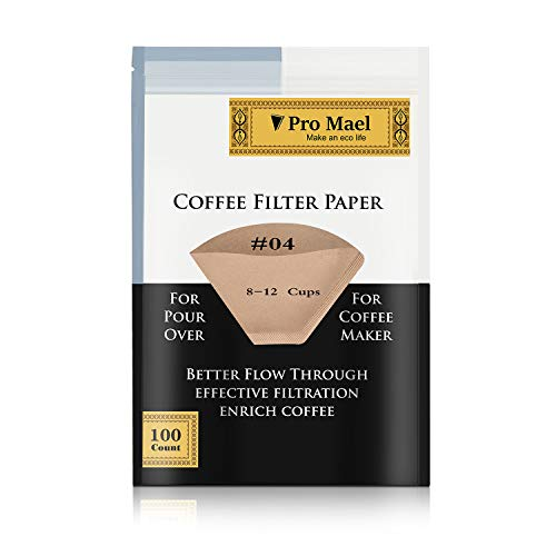 #4 Cone Coffee Filters Paper Disposable for Pour Over and Drip Coffee Maker 100 Count, Better Filtration No Blowouts Made from Unbleached Imported Japanese Filter Paper Natural Brown