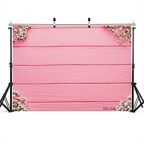 Roze houten board fotografie achtergrond voor foto accessoires kind baby parfum crème vinyl doek achtergrond fotoshoot-220cm X 150cm