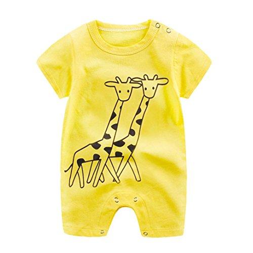 Amlaiworld Baby Baumwolle niedlich Tiere drucken Bodys Sommer Pinguin Kühe Giraffe Spieler Mode Sport säugling Overall Kleidung, 0-24Monate (6 Monate, Gelb)