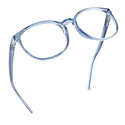 LifeArt Blaue Licht Blockieren Brille, Anti-Augen-Müdigkeit, Computer Lesebrillen, TV Brille für Frauen Männer (Hellblau, Nein Vergrößerung)