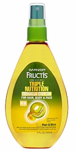 Garnier Fructis Haircare Triple Nutrition Miracle Dry Oil for Hair, Body, Face 5.1 oz (Pack of 3)