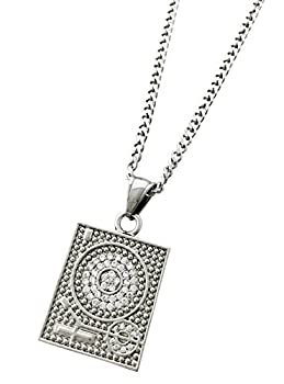 Exo Jewel DJ Turntable Pendant Stainless Steel Necklace with 24  Cuban Chain