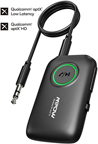 Mpow Bluetooth Adapter Audio 5.0, Bluetooth Transmitter Empfänger, 2 in 1 Wireless Sender Empfänger, aptX niedrige Latenz, aptX HD,für TV,Laptops,Heimlautsprechersysteme, mit 3,5mm und Cinch Audiokabe