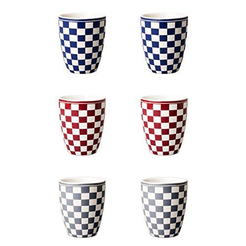 Depot d'argonne Damier Motif Mix 6 Mugs, céramique, Bleu/Rouge/Gris, 7.5 x 7.5 x 9 cm