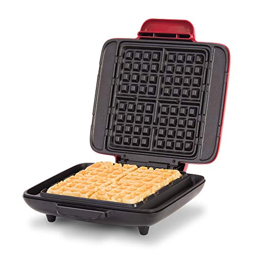Dash Deluxe No-Drip Belgian Waffle Iron Maker Machine 1200W + Hash Browns, or Any Breakfast, Lunch, & Snacks with Easy Clean, Non-Stick + Mess Free Sides, Red