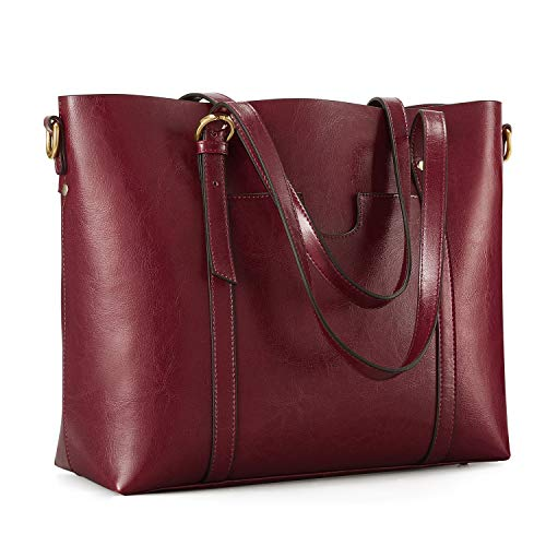 Kattee Women's Genuine Leather Tote Bag Vintage Large Capacity Satchel Work Purses and Handbags with Ajustable Straps(Red)
