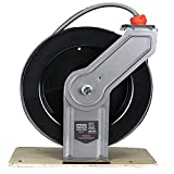 Air Hose Reel, 3/8in×50ft Auto Retractable Hose Reel with Mounting Base, Max 300 PSI, Flexible and Portable Hybrid Polymer Compressor Hose with Heavy Duty Steel, Suitable for Gas & Pressure Fluid