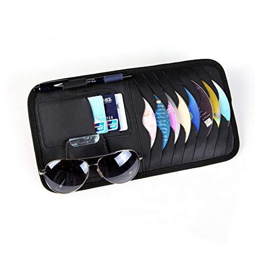 sleeping bag Car Universal Sun Visor Organizer Pocket Storage Pouch,CD Sunglasses Visor Organizer,PU Leather(Black)