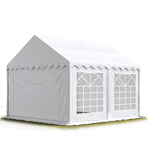 TOOLPORT Carpa para Fiestas Carpa de Fiesta 3x3 m Carpa de pabellón de jardín Aprox. 500g/m² Lona PVC en Blanco Impermeable