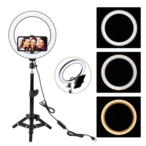 "ZoMei 10"" Selfie LED Ring Light with Tripod Stand &Cell Phone Holder for Live Stream/Makeup/YouTube Video,Dimmable Beauty Mini Camera Photography Ringlight for iPhone Xs Max XR Android"